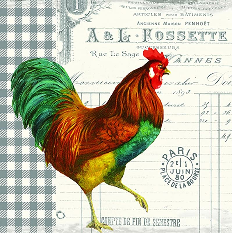 Paperproducts Design 1251452 French Rooster Beverage Paper Napkin 20 Pack