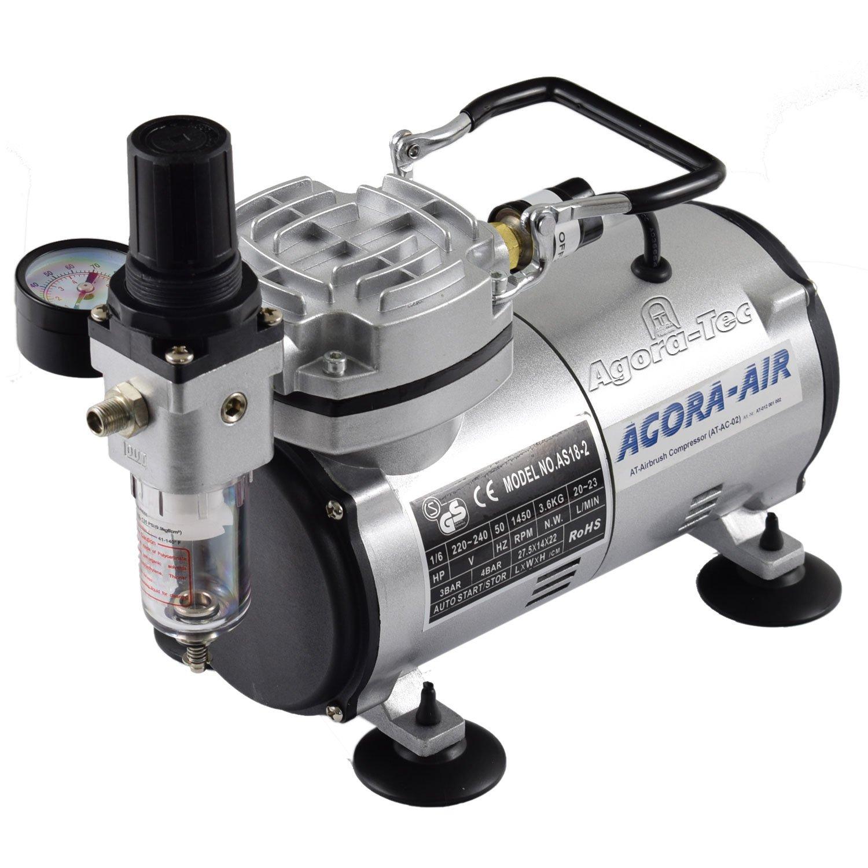 Agora-Tec ® Compressor at aerografía (AC – 02, Compresor para aerógrafo Aplicaciones con 4 bar y 20 l/min, incluye filtro de agua condensada y regulador de presión: Amazon.es: Bricolaje y herramientas