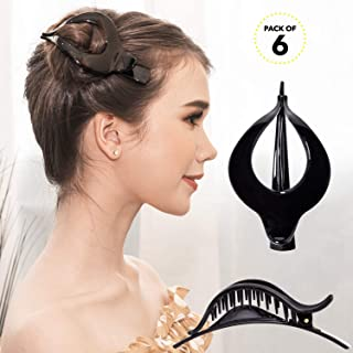 RC ROCHE ORNAMENT Womens Hollow Vintage Elegant Curved Chic Premium Plastic Hair Firm Grip Non Slip Side Slide Fashion Accessory Clamp Clutcher Clip, 6 Pack Count Large Black