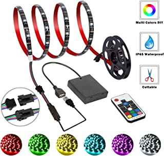 imenou LED Strip Lights Battery Powered with RF Remote Controller, RGB Flexible LED Light Strips, USB and Battery Operated...