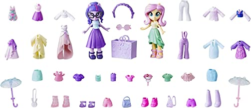 My Little Pony Equestria Girls Fashion Squad Fluttershy & Twilight Sparkle Mini Doll Set with 40+ Accessories; 2 Dolls wit...