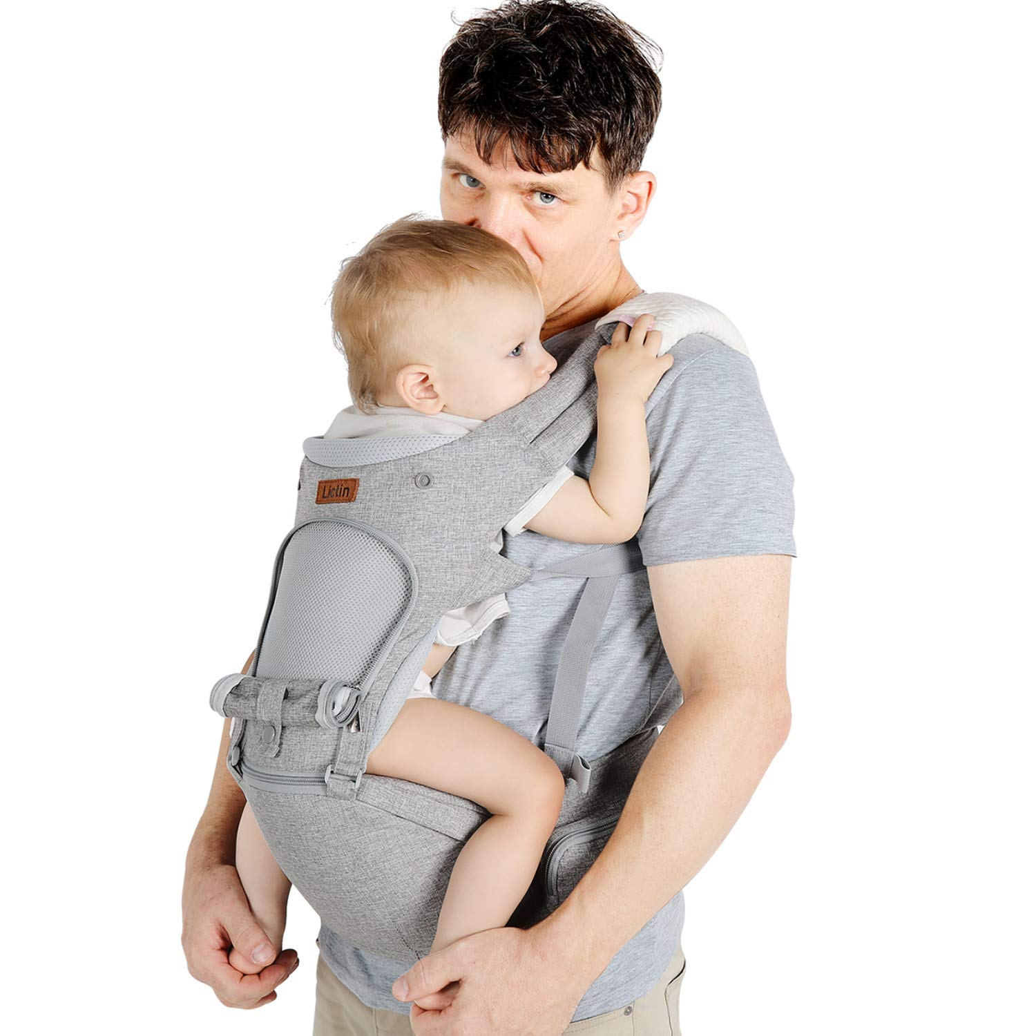 Lictin Baby Carrier 6-in-1 Ergonomic Backpack Carry for Infants from 3.5KG to 20KG , 1 Pacifier Chain, with ASTM Certificated Tummy Carrier for Hiking, Shopping