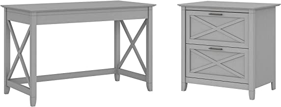 Bush Furniture Key West Writing Desk with 2 Drawer Lateral File Cabinet, 48W, Cape Cod Gray