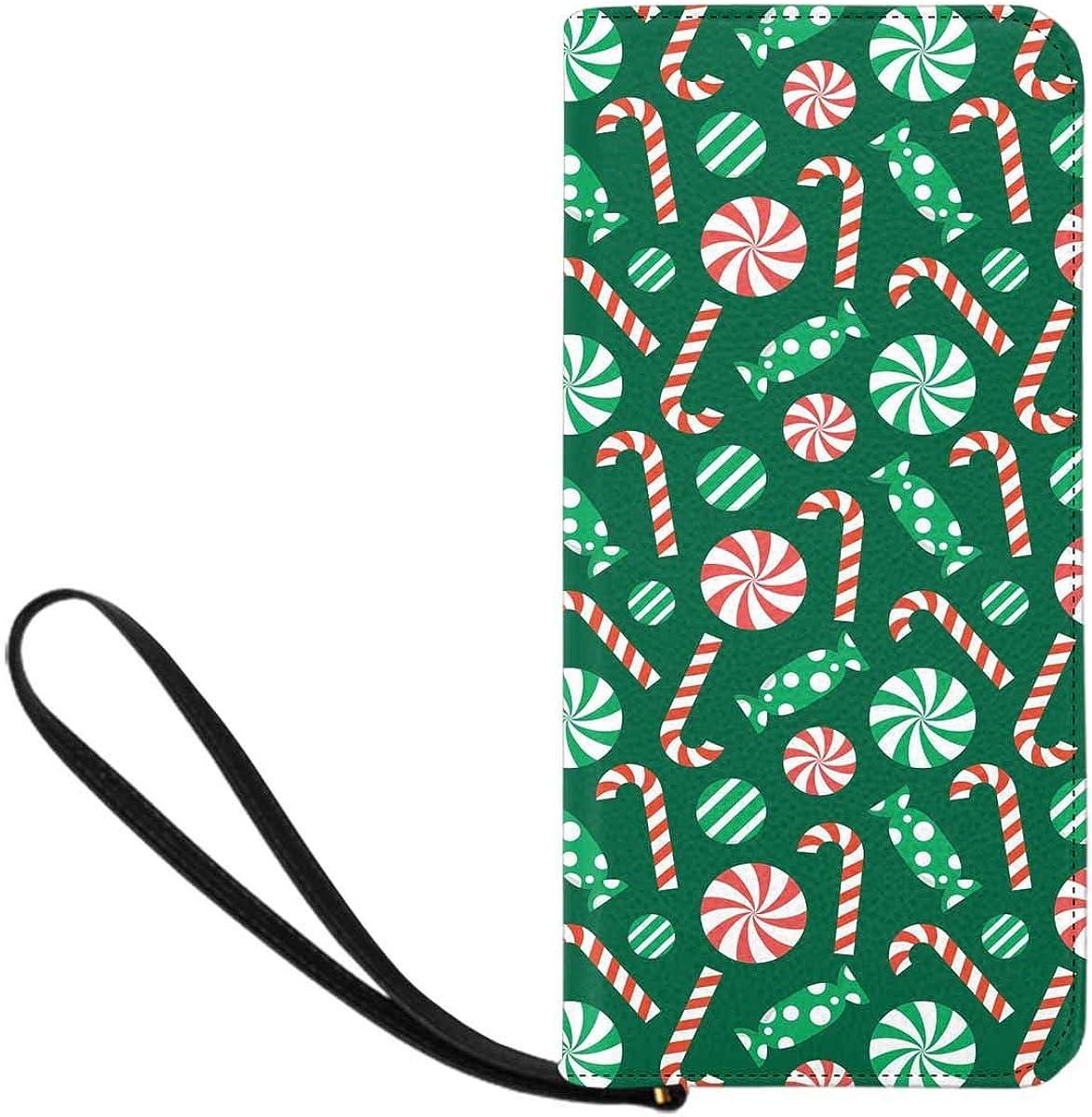 INTERESTPRINT Christmas Pattern Wristlet Wallet for Women with Wrist Strap