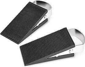 Relaxdays Deurwig set van 2, deurstopper in wigvorm, deurbuffer metaal, antislip, h x b x d: ca. 3 x 5 x 12 cm, zilver/zwart