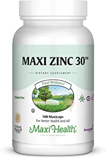 Sponsored Ad - Maxi-Health Zinc Vitamin – 30mg High Potency Pure Zinc – Natural Dietary Supplement for Kids and Adults - 1...