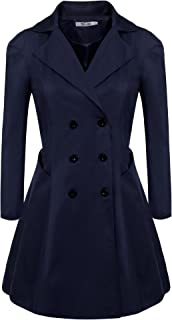 Meaneor Women Plus Size Long Sleeve Lapel Collar Double-Breasted Trench Coat (L-4XL)