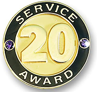 TCDesignerProducts 20 Year Service Gold Award Pin with Stones