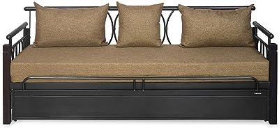 Nilkamal Flint Metal Sofa Cum Bed with Storage, Black