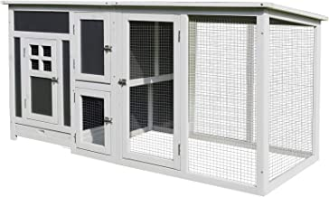 "PawHut 63"" L Deluxe Wood Chicken Coop Guinea Pig Hutch Small Animal Cage PC Roof w/Run Box"