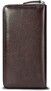 Leather Men Wallets Long Purse Business Male Wallet Zipper Clutch Bags Card Holder Coin Purse,Coffee