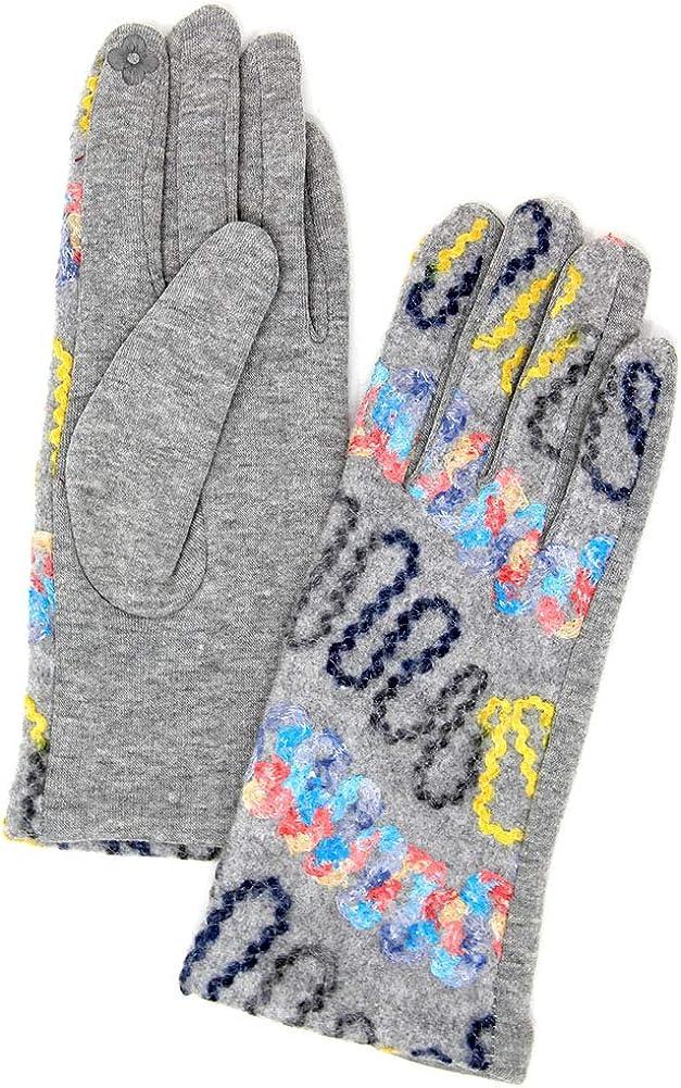 ScarvesMe Women's Winter Wavy Stitch Embroidered Smart Touch Gloves