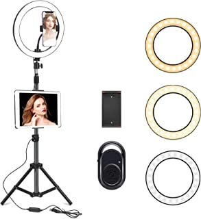 "10"" Selfie Ring Light with 210CM Long Tripod Stand & Cell Phone Holder - Ring Light for iPhone Android, Light Stand for Li..."