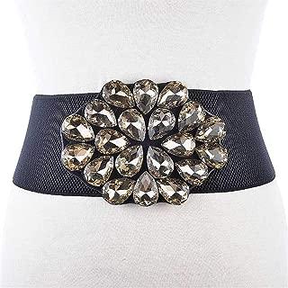 XWenwuSUM New Rhinestone Elastic Belt with Diamonds Ladies Elastic Waistband Wide Belt Dress Coat Body Decorative Belt (Color : Brown, Size : 70cm)