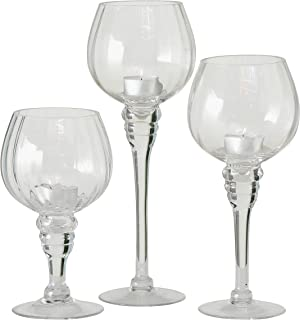WHW Whole House Worlds Spectacular Cape Cod Long Stem Candle Holders, Set of 3, Crystal Clear Ribbed Glass, 11 3/4, 9 3/4 and 7 Inches Tall, for Tealight or Votive Candles