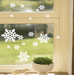 BooDecal Pack of 21 Pcs White Glitter Snowflakes Shop Window Decorations Peel and Stick Wall Decals Wall Removable Vinyl Decals Girls Room Decor Art Quotes Stickers for Christmas Paper Ornaments