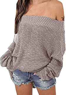 Women's Off Shoulder Sweater Batwing Sleeve Loose...