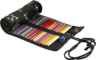 ZumZup Retro Canvas Roll Up Pencil Pouch 12/24/36/48/72 Hole Pencil Case Pencil Roll Pen Storage Bag Black 36 Hole