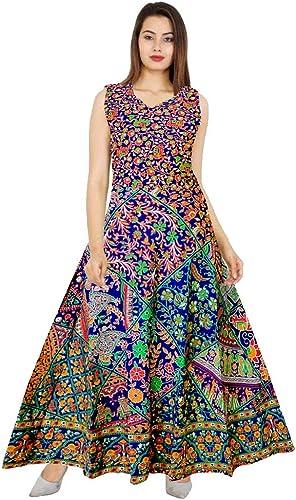 Women S Cotton Jaipuri Printed Maxi Long Dress Multicolor Free Size