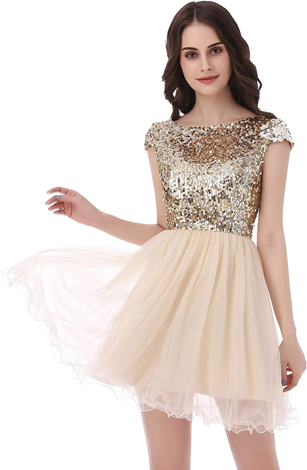 Belle House Junior's Short Tulle Homecoming Dresses with Sleeve Prom Gowns