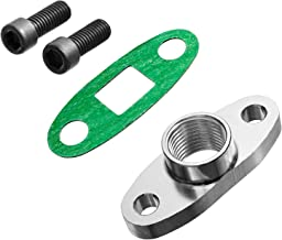 PitVisit 1/2 Inch NPT Fitting Turbo Oil Drain Outlet Flange Adapter Kit with Gaskets and Bolts Compatible with T3 T4 T04 GT40 GT55 Turbo Applications