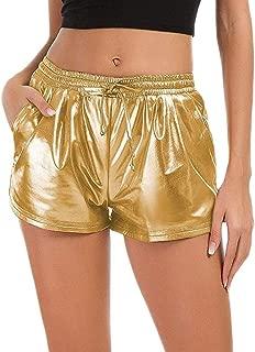 Ninmon Shares Women Summer Pants Shiny Metallic Elastic Drawstring Shorts Pants