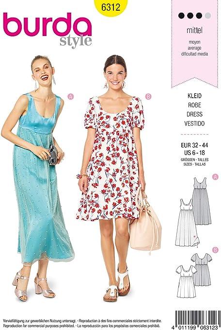 Burda Schnittmuster 6312 Kleid Damen Gr 32 44 Zum Selber Nahen Ideal Fur Fortgeschrittene L3 Amazon De Kuche Haushalt Wohnen