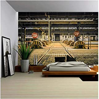 wall26 - Photo of an Abandoned Industrial Interior with Bright Light - Removable Wall Mural   Self-Adhesive Large Wallpaper - 100x144 inches