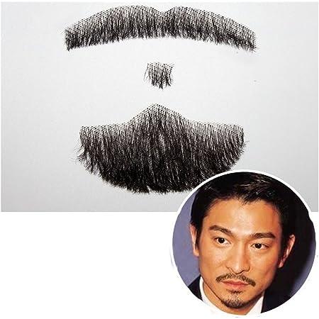 SinoArt 口髭 付け髭 ひげ手作り本物人毛ウィッグ男性 メンズ リアル髭 (04)