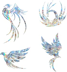 Phoenix Anti-Collision Window Clings - Glass Alert Prism Decals - Prevent Birds Strikes – Decorate Your Glass Doors, 12 Pieces, JD017FENGHUANG