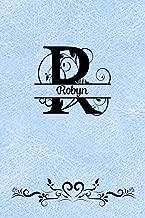 Split Letter Personalized Name Journal - Robyn: Elegant Flourish Capital Letter on Light Blue Leather Look Background