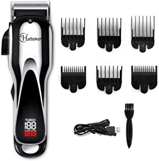 HATTEKER Pro Hair Clipper Cordless Hair Trimmer Mens Beard Trimmer Complete Haircut Grooming kit Hair Cutting Kit for Men, Women & Children Rechargeable