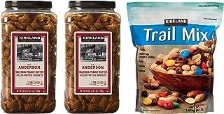 Kirkland Signature Peanut Butter Filled Pretzels and Trail Mix Bundle - Includes Kirkland Signature Two Kirkland H.K Anderson Peanut Butter Filled Pretzels (3 LB 7 OZ Each) And Trail Mix (4.0 LB)