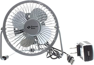 "Comfort Zone 4"" Dual Powered High Velocity Fan (Silver)"