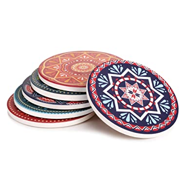 LIFVER Drink Coasters, Mandala Style Absorbent Coaster Sets, Avoid Furniture Being Scratched and Soiled, Suitable for Kinds of Cups, 4 Inches, Set of 6