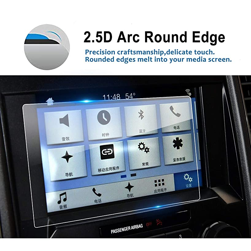 LFOTPP 2015-2018 Ford F-150 F250 F350 F450 sync2 sync3 Coupe Hatchback 8 Inch Car Navigation Screen Protector, 9H Clear Tempered Glass Infotainment Center Touch Display Screen Protector Anti Scratch