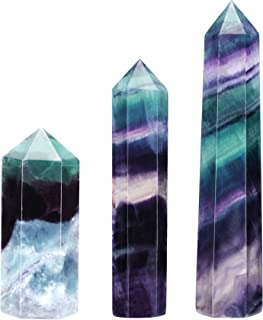 Sponsored Ad - CrystalTears Set of 3 Natural Fluorite Self Standing Healing Crystal Point Wand Faceted Prism Wand Carved R...