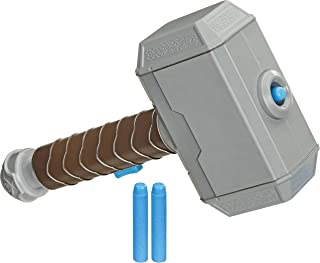 NERF Power Moves Marvel Avengers Thor Hammer Strike Hammer NERF Dart-Launching Toy for Kids Roleplay, Toys for Kids Ages 5...