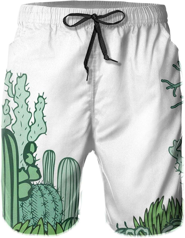 Arizona Desert Themed Doodle Cactus Staghorn Buckhorn Ocotillo Theme Drawstring Waist Beach Shorts for Men Swim Trucks Board Shorts with Mesh Lining,L