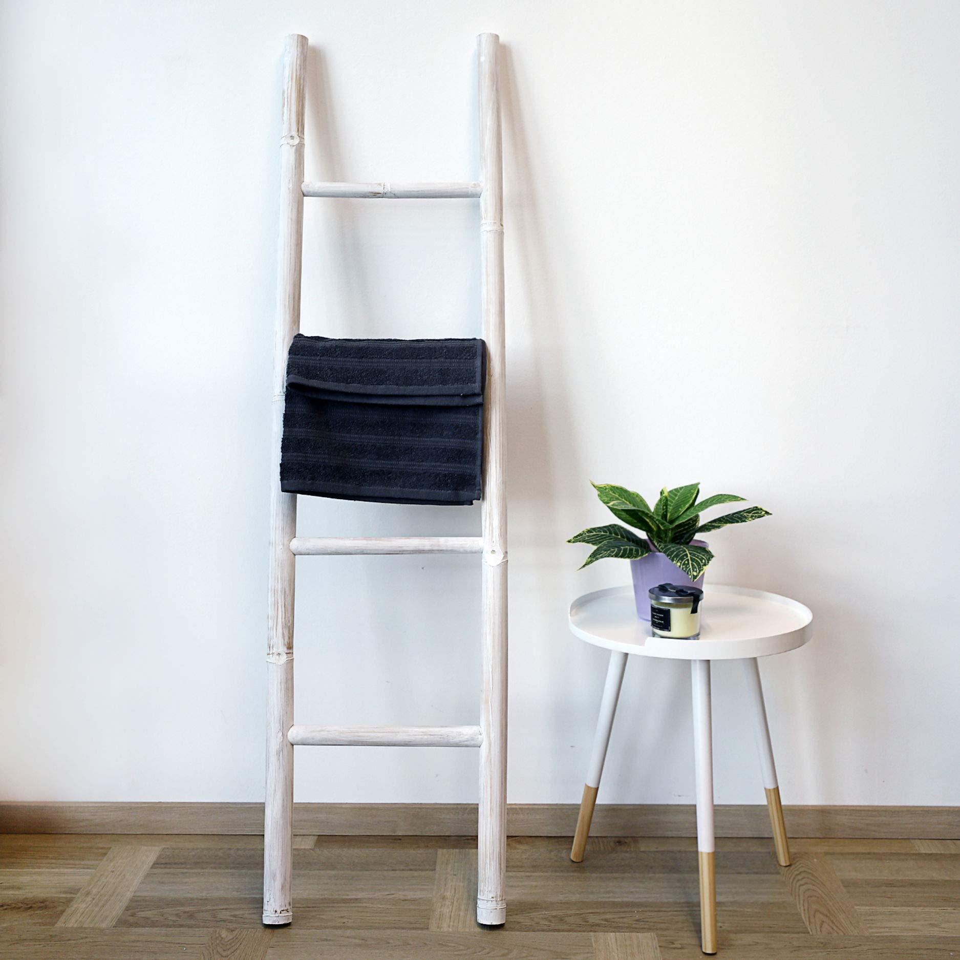 Escalera decorativa de bambú (150 x 40 cm), color blanco: Amazon.es: Hogar