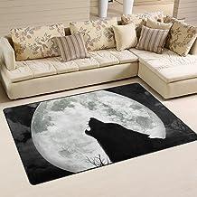 MASSIKOA Howling Wolf Full Moon Area Rug Rugs Non-Slip Indoor Outdoor Floor Mat Doormats for Home Decor 60 x 39 Inches