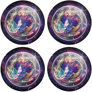 CARIBOU Coasters CB-WHTFAB-4-A6302, Electric Crystal Star Nebula Design Absorbent Round Fabric Felt Neoprene Coasters for ...