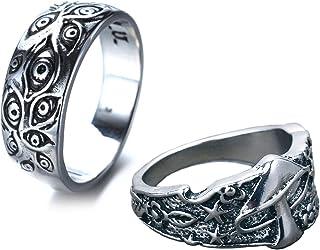 مجموعة من 2 خاتم من الفولاذ المقاوم للصدأ من HIYOLALA للنساء والرجال ، نجمة الفطر وعين الله خواتم بيان القوطية مقاس 7-10