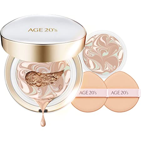 AGE 20's Signature Long Stay Hydrating Natural Cover SPF 50+ Cushion Foundation BB CC Cream Pact + Refill #21 Light Beige (0.49oz x 2ea)