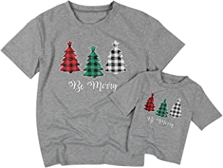 MOUSYA Mom and Baby Be Merry Christmas Matching T Shirt Plaid Colorful Tree Short Sleeve Happy Shirts Tops