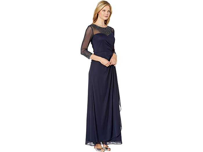 Alex Evenings Long A-line Dress With Beaded Sweetheart Illusion Neckline Dark Navy Dresses