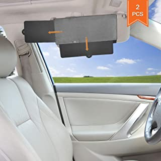 TFY Car Visor Sunshade Extender Anti-Glare Sun Visor Extender Window Sunshade and UV Rays Blocker - Gray (2 Pieces)