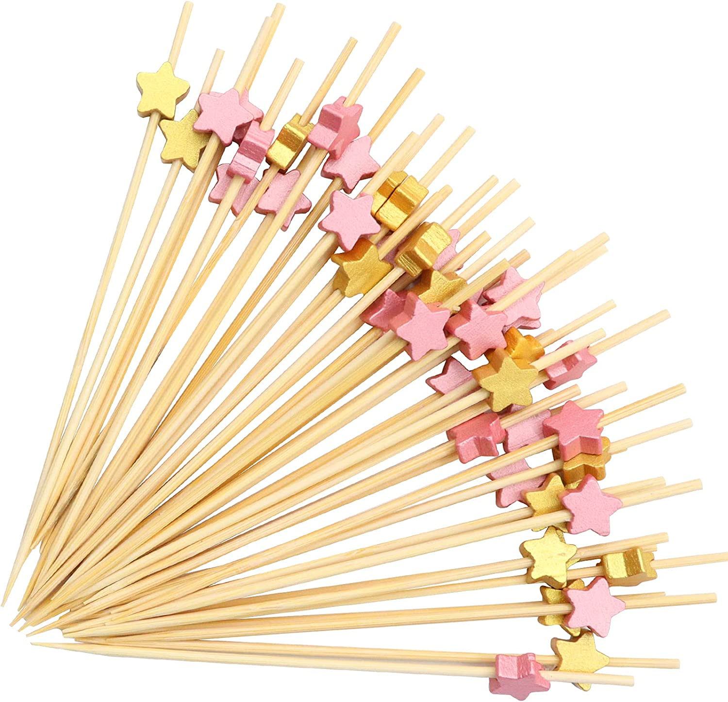 200Pcs Cocktail Picks, Colorful Cocktail Sticks Fruit Appetizing Sticks Wooden Toothpicks Handmade Bamboo Skewers for Home Party Cocktail, Fruit,Dessert, Sandwiches Food Decoration (Star Style)