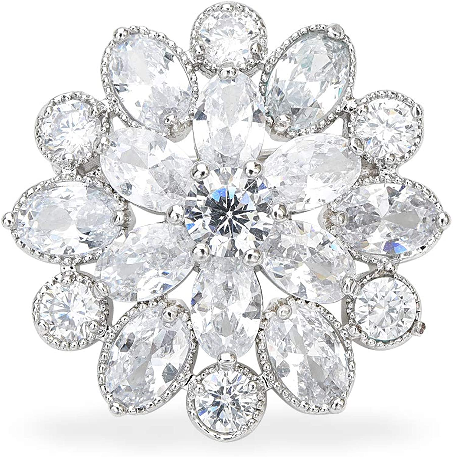 YYBONNIE Women's Cubic Zircon Camellia Brooch Pins Crystal Snowflake Flower Lapel Pin Mini Safety Pins Boutonniere Floral Breastpin Scarf Accessories