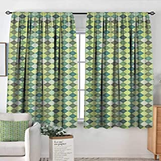 Modern Blackout Curtain Plaid,Traditional Argyle Pattern in Pastel Green Tones Checkered Striped Classical Design, Multicolor,Blackout Draperies for Bedroom 42